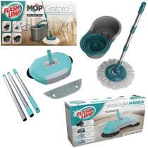 Kit Rodo Mop Fit com Vassoura Mágica Varre Recolhe Flash Limp -