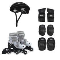 Kit Roller Cinza Tamanho P 30-33 (Roller, Joelheira e Capacete) - Mor