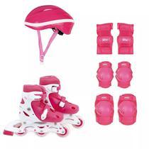 Kit Roller Infantil Capacete Luva Joelheira Cotov. 31-34 Mor - Met. mor