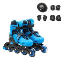 Kit Roller Infantil Patins Regulável Azul Ou Rosa + Proteção - BBR Toys