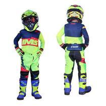 Kit Roupa Ims Army Fluor Calça Camisa Infantil Motocross -