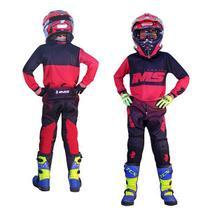 Kit Roupa Ims Army Vermelho Calça Camisa Infantil Motocross -