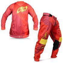 Kit Roupa Motocross Pro Tork Connect Solid Spice Camisa M Calça 42 Vermelho -