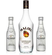 Kit Rum Malibu 750ml + 2 Água Tônica Riverside Original -