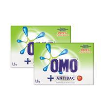 Kit Sabão Em Pó Omo Antibacteriano 1.8kg 40 porcento na 2 unidade -