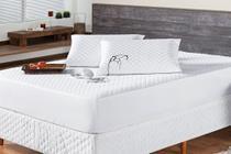 Kit Saia Box Queen + Protetor de Colchão Queen Impermeável + Porta Travesseiro Impermeável BRANCO - Ônix Enxovais