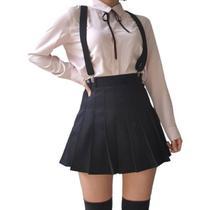 Kit Saia estilo Colegial Preta Pregueada Lisa acompanhada de Suspensório Preto - Anime Play