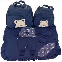Kit Saída De Maternidade + 2 Bolsas Azul Marinho Menino Urso - Império Dos Bebès