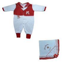 Kit saida de maternidade algodao manta + body manga longa pe reversivel diversas cores feminina pedrinho baby - Pedrinho Baby - Ademylosweb