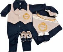 Kit Saída Maternidade 6 (seis) peças 100% algodão Menino - Azul Escuro e Areia - Real Sonho