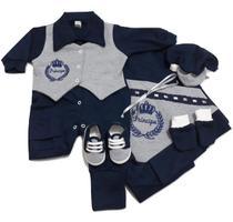 Kit Saída Maternidade 6 (seis) peças 100% algodão Menino - Azul Escuro e Cinza Mescla - Real Sonho