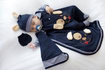 Kit Saída Maternidade Cãozinho Azul Marinho Menino Bebe - Tieloy Baby