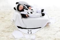 Kit Saída Maternidade Panda Bebê Branca Menino Menina - 5 Peças - Nanalobela