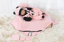 Kit Saída Maternidade Panda Bebê Rosa Menino Menina - 5 Peças - Nanalobela