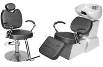 Kit Salão de Beleza 1 Cadeira Reclinável + 1 Lavatório Porcelana Topázio C/Apoio Base Redonda - Gilcadeiras