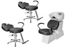 Kit Salão de Beleza 2 Cadeiras Reclináveis + 1 Lavatório Porcelana Topázio Base Estrela - Gilcadeiras