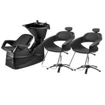 Kit Salão de Beleza Lavatório de Cabelo E 2 Cadeiras Primma Dompel Com Apoio de Cabeça -