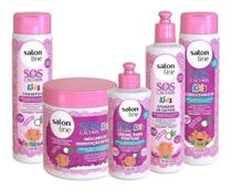 Kit Salon Line Infatil Sos Cachos Kids Completo Shampoo + Cond + Masc + Creme + Ativador -