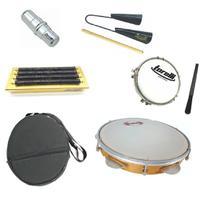 Kit samba percussão pandeiro contemporânea com capa + reco-reco + tamborim + agogô + ganza - Ask