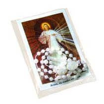 Kit santinho da divina misericórdia com terço perolado - Armazem