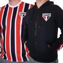 Kit São Paulo FC - Moletom Preto + Camisa Tricolor Oficial -