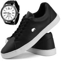 Kit Sapatênis Casual Masculino Estiloso Preto Lançamento Tendencia Com Relógio - Sw Shoes