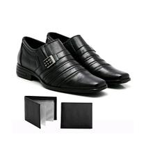 KIT Sapato Social Masculino Confort Couro + Carteira Preto - L&L
