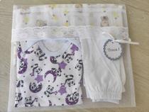Kit Saquinho Maternidade 6 Unidades Modelo Envelope com Renda + Tag Unissex - Ateliê Vó Coruja