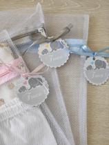 Kit Saquinho Maternidade C/ 6 Unidades + Tag Elefantinho Azul Bebê - Ateliê Vó Coruja