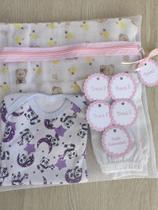 Kit Saquinho Maternidade C/ 6 Unidades Ziper e Tag Rosa Bebe - Ateliê Vó Coruja
