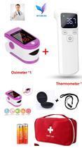 Kit Saúde Termômetro Infravermelho Digital Testa + Oxímetro Oled Dedo/Pulso adulto e Pediátrico - Firgetip