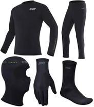 Kit Segunda Pele Camiseta + Calça + Luva Thermic + Meia Thermic + Balaclava Touca Ninja - X11