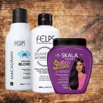 Kit Selagem Térmica Felps 300ml - Shampoo E Creme Skala - Mais Lisos - Felps Professional - Skala
