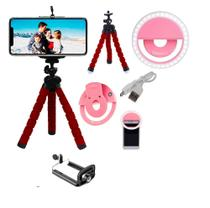 Kit Selfie Ring Light Mini Tripé Makeup Gravação Youtuber - Dgs