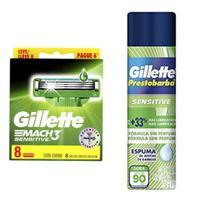 Kit sensitive Mach 3 contendo uma caixa de cartucho Leve 8 pague 6, mais uma espuma de barbear 150g. - Gillette