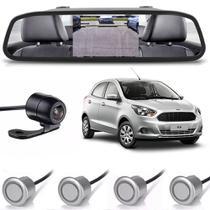 Kit sensor de estacionamento camera de ré retrovisor Ford KA prata - H-Tech