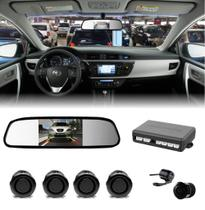 Kit Sensor De Estacionamento Preto + Camera Ré + Retrovisor - Etech