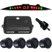 Kit Sensor Ré Estacionamento Techone Prime 4 Pontos - Preto -