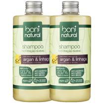 Kit Shampoo Boni Natural Argan e Linhaça 500ml com 2 unidades -