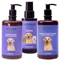 Kit Shampoo Cães Gato + Condicionador + Colônia Granado Pet -
