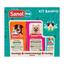 Kit Shampoo, Colônia e Condicionador Sanol Dog -