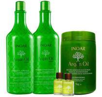 Kit Shampoo + Cond 1l E Máscara 1kg Argan Oil Inoar + 2 Óleo -