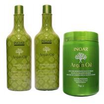 Kit Shampoo Condicionador 1l Máscara Argan Oil 1kg Inoar -