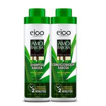 Kit Shampoo + Condicionador Amo Babosa Eico Cosméticos 800ml Fortalecimento Crescimento Brilho Extremo Aloe Vera Hidrata -