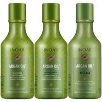 Kit Shampoo + Condicionador + Leave-In Argan Oil System 3x250ml Inoar -