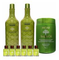 Kit Shampoo Condicionador + Máscara + 6 Óleo Argan Oil Inoar -