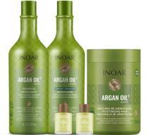 Kit Shampoo Condicionador Máscara E 2 Óleos Argan Oil Inoar -