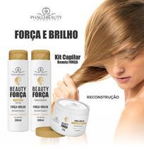 Kit Shampoo Condicionador Mascara Hidratação Beauty Força Phállebeauty - Phállebeuty