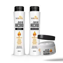 Kit Shampoo Condicionador Máscara Óleo de Ricino Mahair -