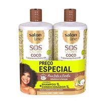 Kit Shampoo Condicionador Óleo e Manteiga de Coco 1L - Salon Line -